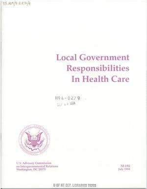 Primary view of object titled 'Local government responsibilities in health care.'.