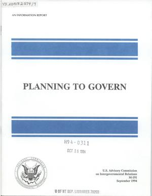 Primary view of object titled 'Planning to govern'.