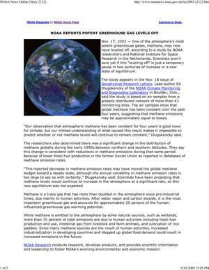 Primary view of object titled 'NOAA Reports Potent Greenhouse Gas Levels Off'.