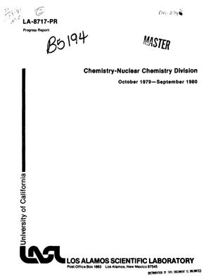 Primary view of object titled 'Chemistry-nuclear chemistry division. Progress report, October 1979-September 1980'.