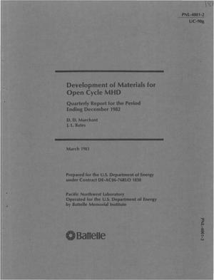 Primary view of Development of materials for open-cycle MHD. Quarterly report ending December 1982