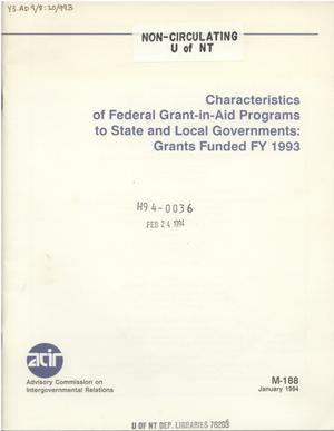 Primary view of object titled 'Characteristics of federal grant-in-aid programs to state and local governments : grants funded FY 1993'.