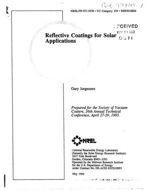 Primary view of object titled 'Reflective coatings for solar applications'.