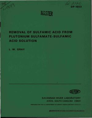 Primary view of object titled 'Removal of sulfamic acid from plutonium sulfamate--sulfamic acid solution'.