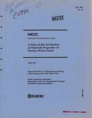 Primary view of object titled 'State-of-the-art review of materials properties of nuclear waste forms.'.