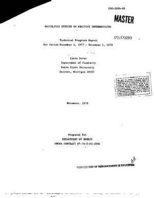 Primary view of object titled 'Radiolysis studies on reactive intermediates. Technical progress report, November 1, 1977--November 1, 1978'.
