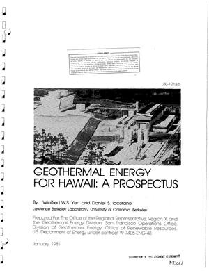 Primary view of object titled 'Geothermal energy for Hawaii: a prospectus'.