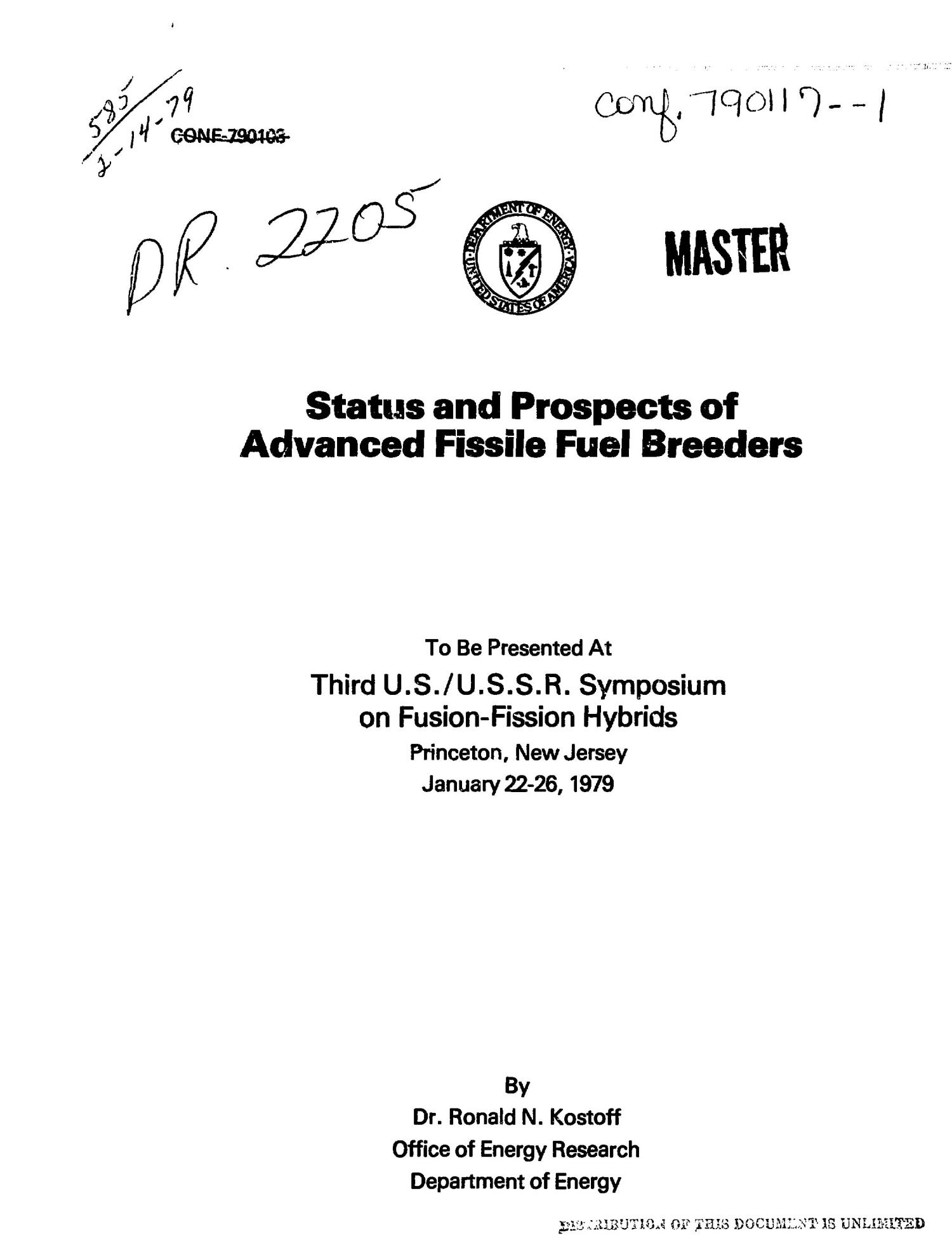 Status and prospects of advanced fissile fuel breeders                                                                                                      [Sequence #]: 1 of 130