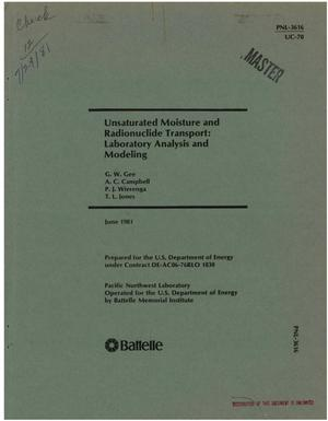 Primary view of object titled 'Unsaturated moisture and radionuclide transport: laboratory analysis and modeling'.