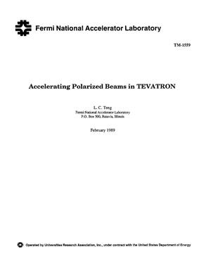 Primary view of object titled 'Accelerating polarized beams in Tevatron'.