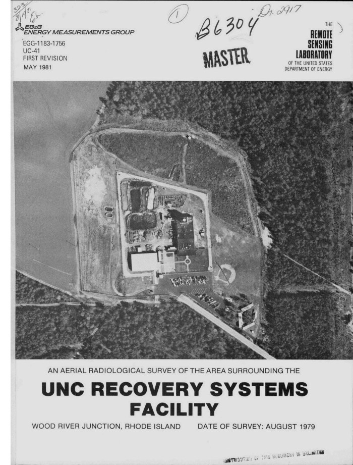 aerial radiological survey of the area surrounding the unc recovery