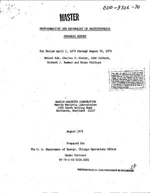 Primary view of object titled 'Photochemistry and enzymology of photosynthesis. Progress report, April 1, 1978--August 31, 1978'.