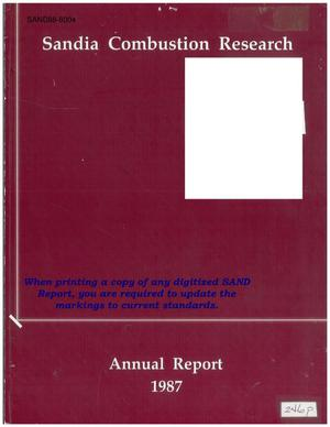Primary view of object titled 'Sandia combustion research program: Annual report, 1987'.