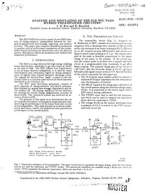 Primary view of object titled 'Analysis and simulation of the SLD WIC (Warm Iron Calorimeter) PADS hybrid preamplifier circuitry'.