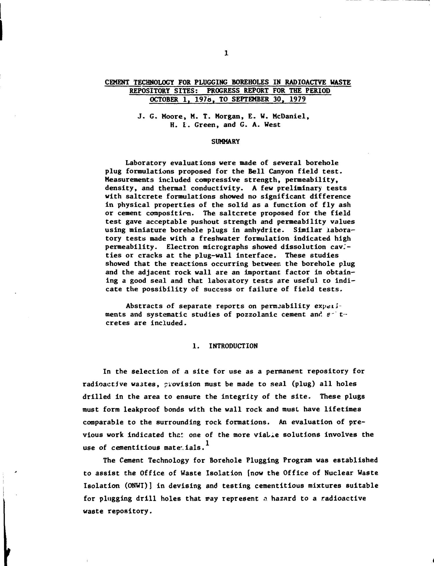 Cement technology for plugging boreholes in radioactive-waste-repository sites. Progress report, October 1, 1978-September 30, 1979                                                                                                      [Sequence #]: 4 of 21