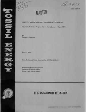 Primary view of object titled 'Solvent refined lignite process development. Quarterly technical progress report No. 3, January--March 1978'.