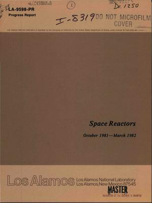 Primary view of object titled 'Space reactors. Progress report, October 1981-March 1982'.