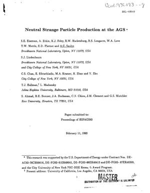 Primary view of object titled 'Neutral strange particle production at the AGS'.
