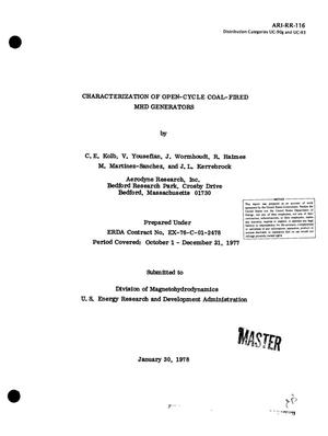 Primary view of object titled 'Characterization of open-cycle coal-fired MHD generators. Quarterly technical summary report No. 6, October 1--December 31, 1977. [PACKAGE code]'.