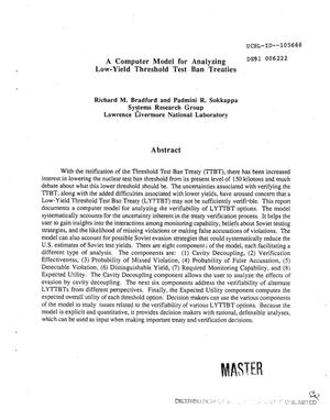 Primary view of object titled 'A computer model for analyzing low-yield threshold test ban treaties'.