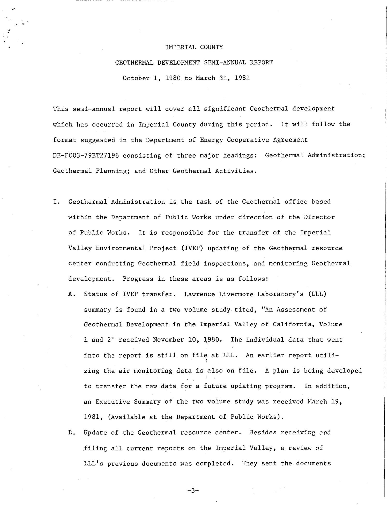 Geothermal development. Semi-annual report, October 1, 1980-March 31, 1981                                                                                                      [Sequence #]: 7 of 45