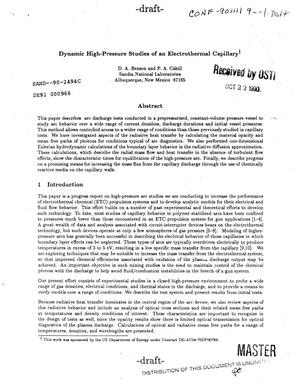 Primary view of object titled 'Dynamic high-pressure studies of an electrothermal capillary'.