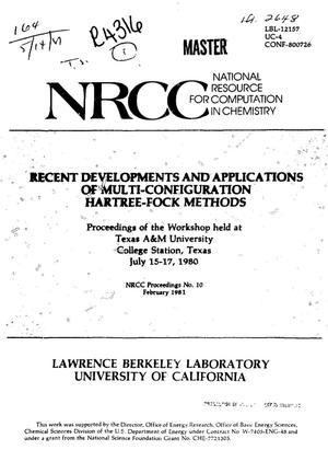 Primary view of object titled 'Recent developments and applications of multi-configuration Hartree-Fock methods. NRCC proceedings No. 10'.