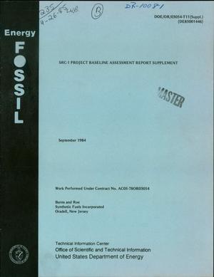 Primary view of SRC-1: coal liquefaction demonstration plant. Project Baseline assessment report supplement