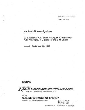 Primary view of object titled 'Kapton HN investigations'.