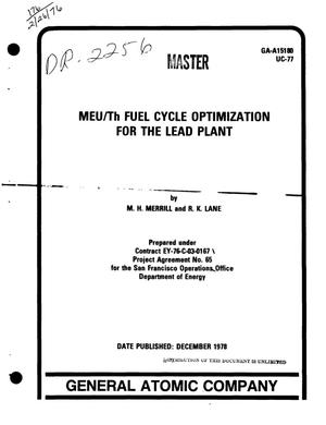 Primary view of object titled 'MEU/Th fuel cycle optimization for the Lead Plant'.