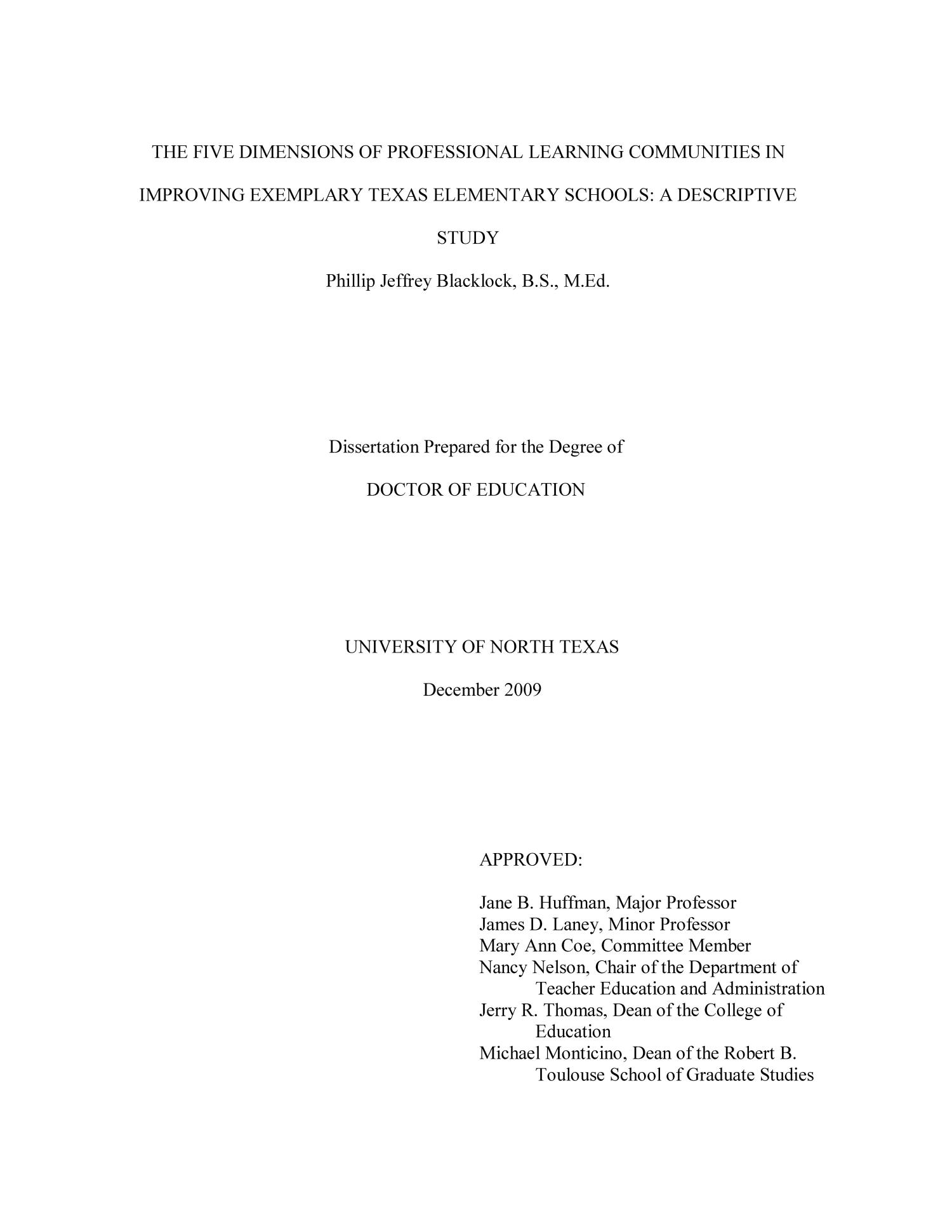 professional learning communities dissertations It has been accepted for inclusion in graduate theses and dissertations by   professional learning communities: an analysis of teacher participation in a plc.