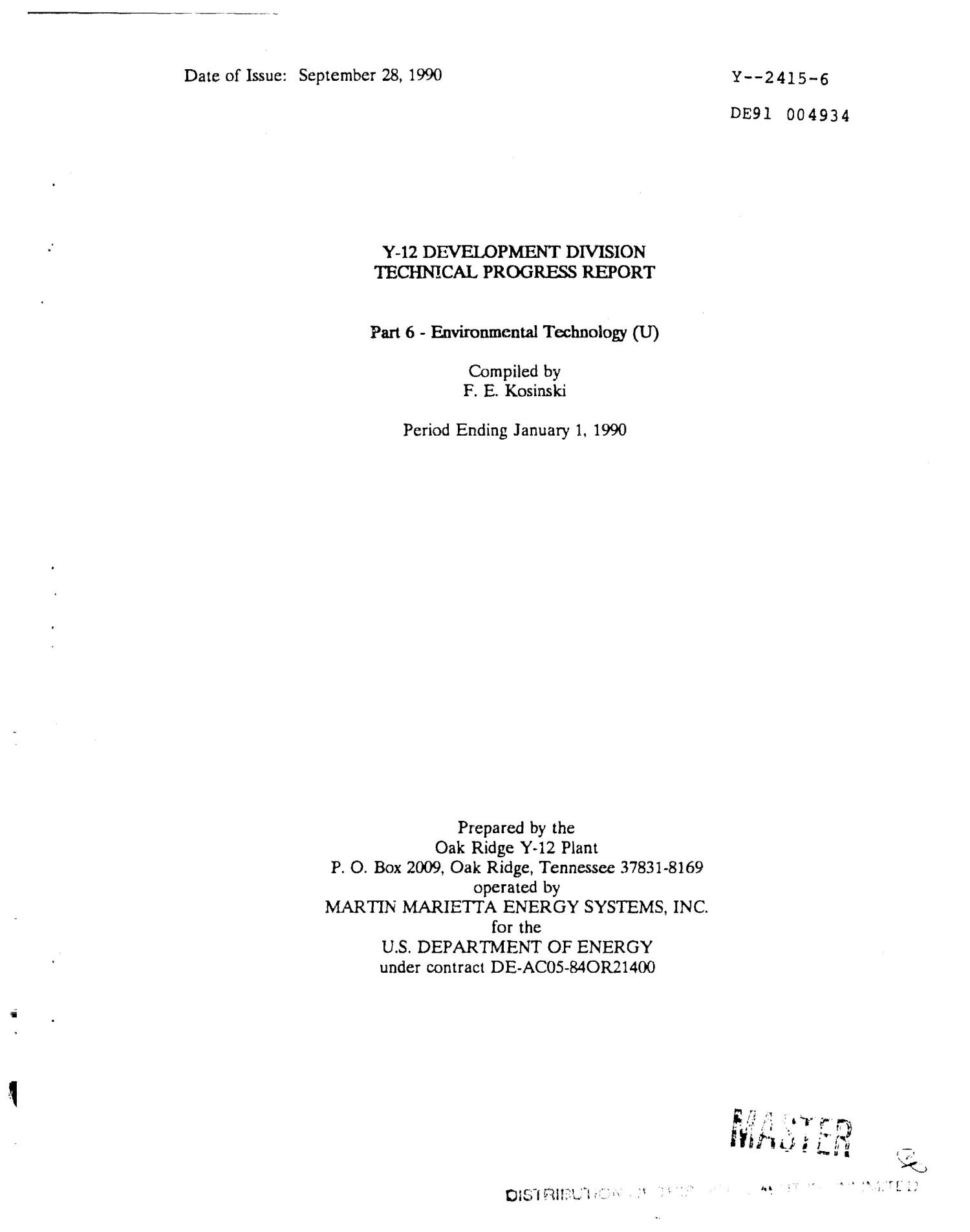 Y-12 Development Division technical progress report, period ending January 1, 1990                                                                                                      [Sequence #]: 1 of 30