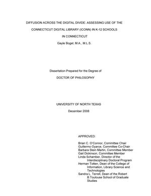 Primary view of object titled 'Diffusion across the digital divide: Assessing use of the Connecticut Digital Library (ICONN) in K-12 schools in Connecticut.'.