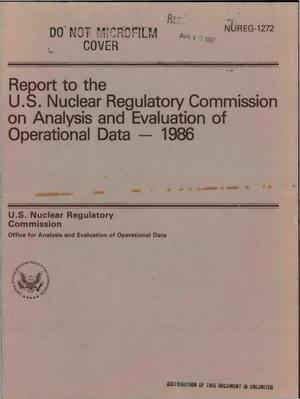 Primary view of object titled 'Report to the US Nuclear Regulatory Commission on Analysis and Evaluation of Operational Data, 1986'.