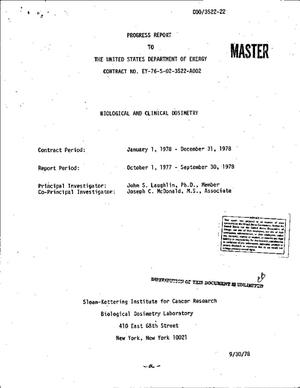 Primary view of object titled 'Biological and clinical dosimetry. Progress report, October 1, 1977--September 30, 1978'.