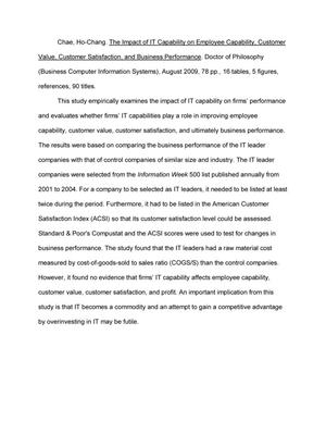 Customer satisfaction and business performance dissertation essay on means of communication