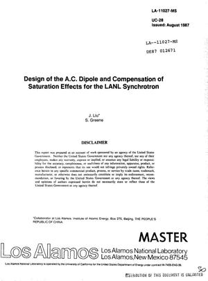 Primary view of object titled 'Design of the ac dipole and compensation of saturation effects for the LANL synchrotron'.