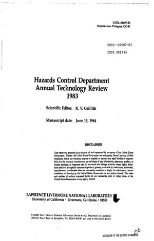 Primary view of object titled 'Hazards Control Department annual technology review, 1983'.