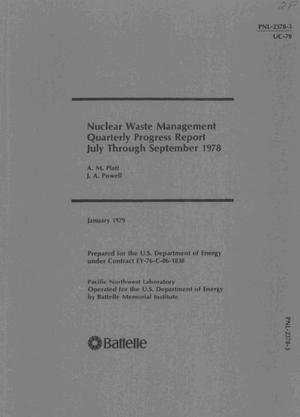 Primary view of object titled 'Nuclear waste management. Quarterly progress report, July--September 1978'.