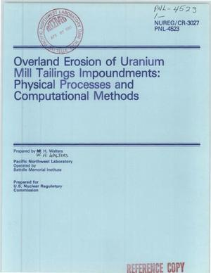 Primary view of object titled 'Overland erosion of uranium-mill-tailings impoundments: physical processes and computational methods'.