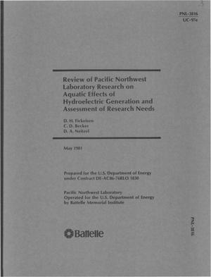 Primary view of object titled 'Review of Pacific Northwest Laboratory research on aquatic effects of hydroelectric generation and assessment of research needs'.