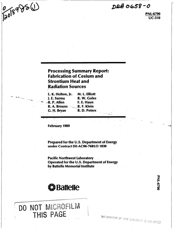 Processing summary report: Fabrication of cesium and