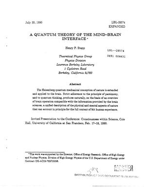 Primary view of object titled 'A quantum theory of the mind-brain interface'.