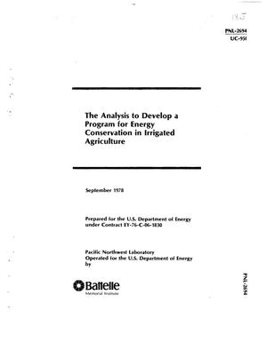 Primary view of object titled 'Analysis to develop a program for energy conservation in irrigated agriculture'.