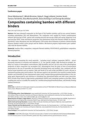 Composites containing bamboo with different binders