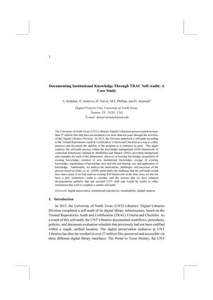 Documenting Institutional Knowledge Through TRAC Self-Audit: A Case Study
