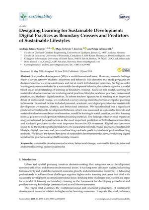 Designing Learning for Sustainable Development: Digital Practices as Boundary Crossers and Predictors of Sustainable Lifestyles