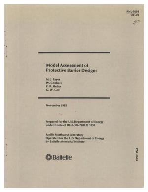 Primary view of object titled 'Model assessment of protective barrier designs'.