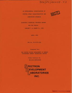 Primary view of object titled 'Experimental investigation of synfuel spray characteristics and combustion dynamics. Quarterly technical progress report, January 1-March 31, 1981'.