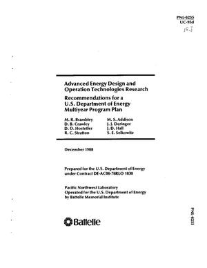 Primary view of object titled 'Advanced energy design and operation technologies research: Recommendations for a US Department of Energy multiyear program plan'.